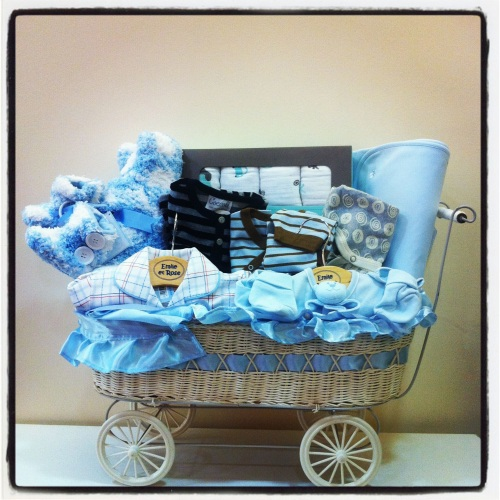 Gift baskets oleanas blog this gift basket will surely stand out at baby showers the basket includes pajamas swaddles blanket jacket and booties it is available for both baby negle Gallery