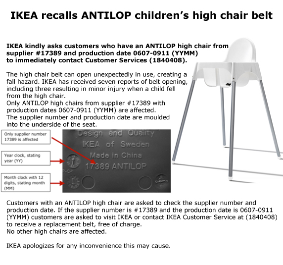 IKEA is recalling high chairs because of fears over faulty safety belts. The furniture giant has warned parents who own its plastic Antilop chair after ...  sc 1 st  Oleanau0027s Blog - WordPress.com & Recall Alert: Ikea recalls high chairs after warning kids could fall ...